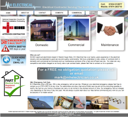 One of our website designs - M H Electrical home page