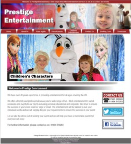 One of our website designs - Prestige Entertainment